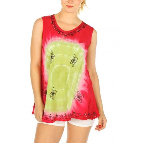 Wholesale I21C Tie Dye Bulls Eye Sleeveless Top OL/OR