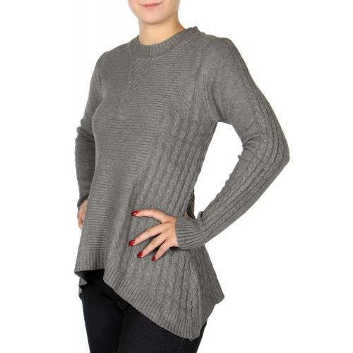 Wholesale U14D Uneven hem sweater Beige