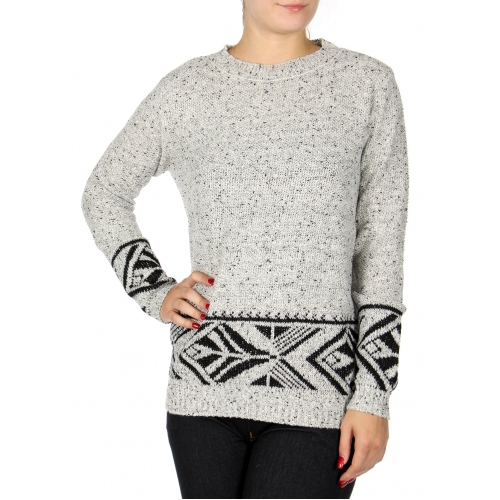 Wholesale T17C Marled crewneck sweater Taupe