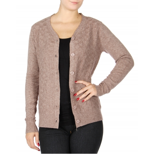 Wholesale T11C Brushed V neck cardigan Taupe