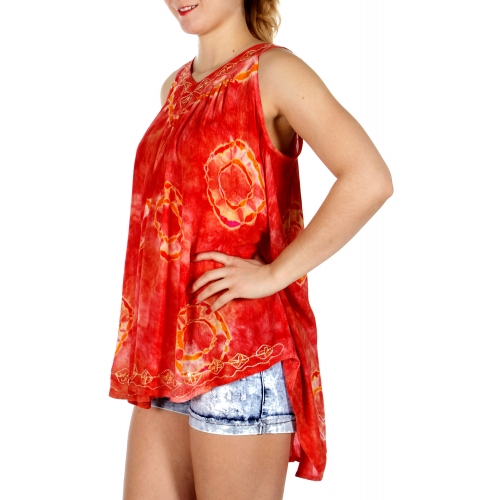Wholesale I46B V Line Tie Dye Embroidery Top CO