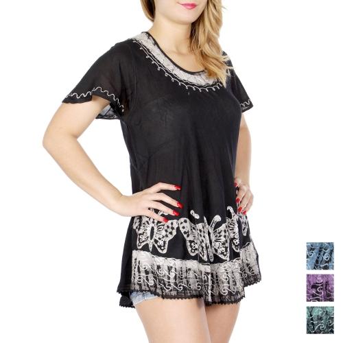 Wholesale N07A Butterfly batik short sleeve tunic BK/GR