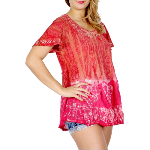 Wholesale N39A Nature batik short sleeve tunic RD/FU