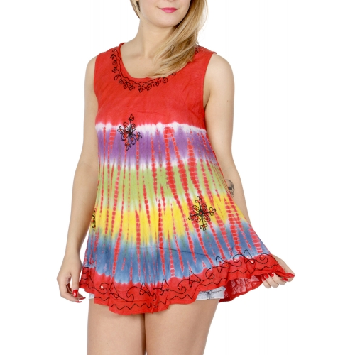 Wholesale I21D Tie Dye Sleeveless Top w/ Sequins YL