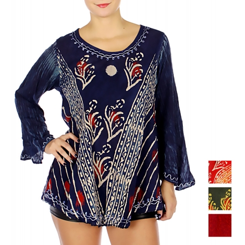 Wholesale N12B Round Neck Abstract Embroidery Tunic Top NV