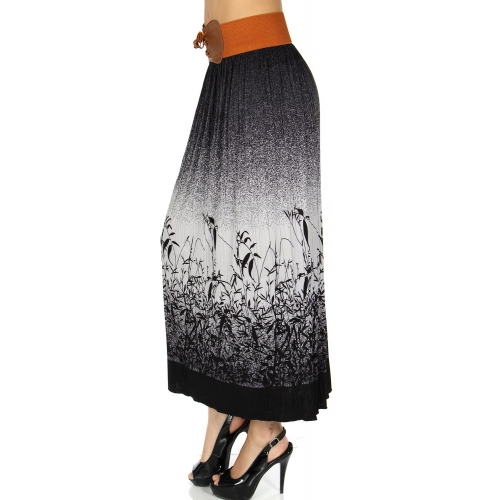 Wholesale U15B Elastic band pleated skirt Black