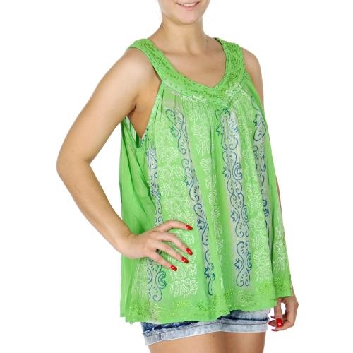 Wholesale K54C Tie dye vine print sleeveless batik top PLUS SIZE TURQ