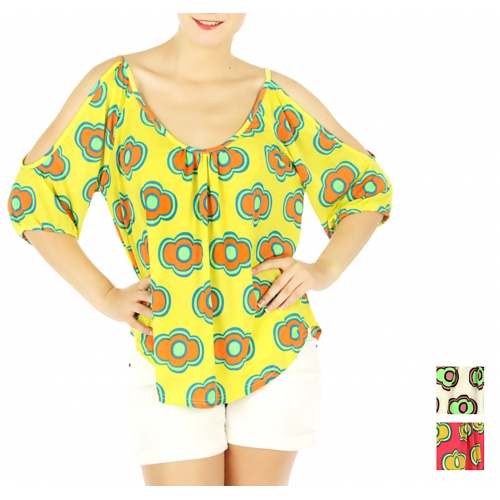 wholesale L23 Open shoulder top Yellow fashionunic