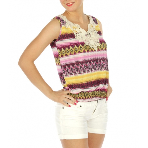 wholesale K70 Abstract laced front top YL/Pink