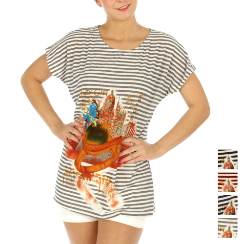Wholesale K77 Crazy Girl striped loose T-shirt