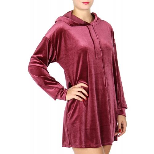 Wholesale T65C Velvet hoodie Burgundy