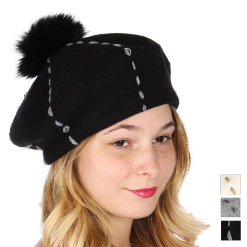Wholesale W07C Contrast stitch pom-pom beret