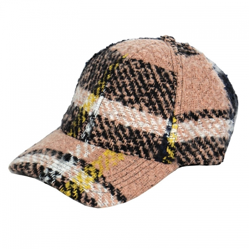 Wholesale V58C Plaid woven baseball cap Beige
