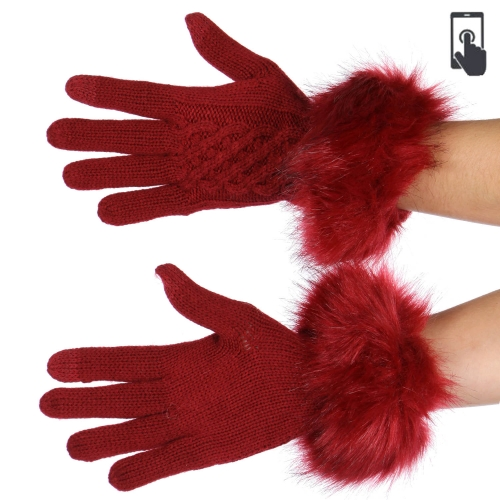 wholesale T07 C.C Faux fur trim touch screen knit gloves Camel