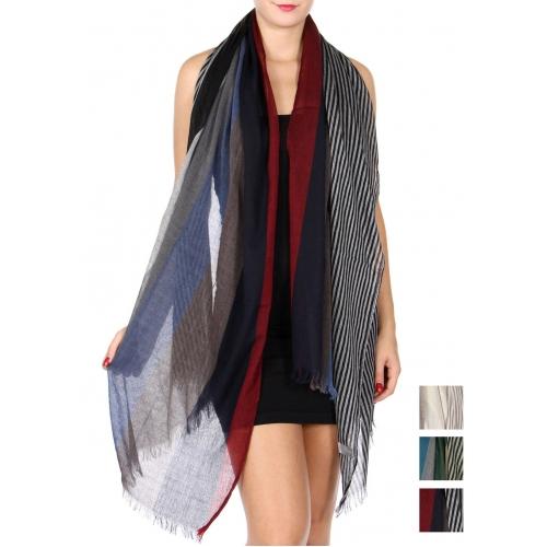wholesale U13D Frayed striped scarf Dozen