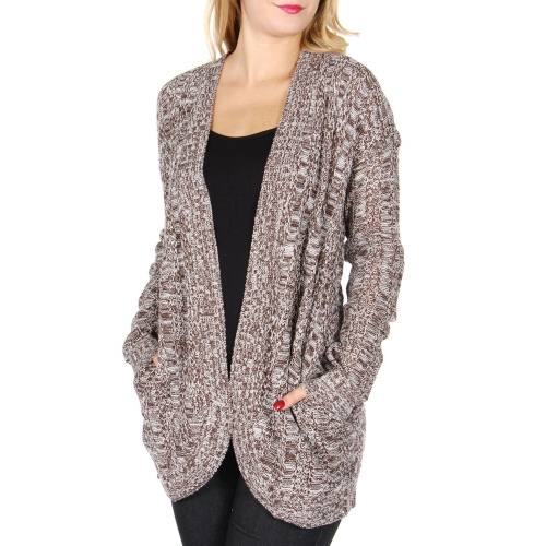 Wholesale T18D Solid cocoon cardigan Black