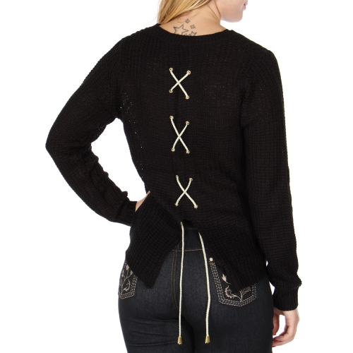 Wholesale T26D Back slit sweater Black