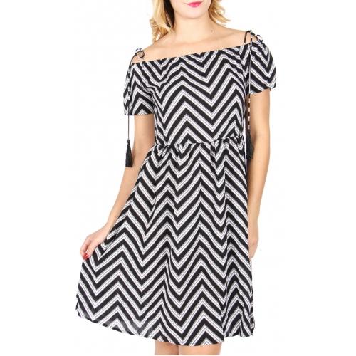 Wholesale P01B Off-the-shoulder tassel dress Black