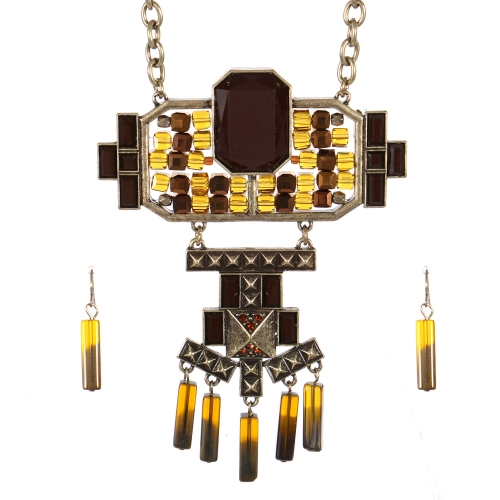 Wholesale Stone charm long necklace set GBBR