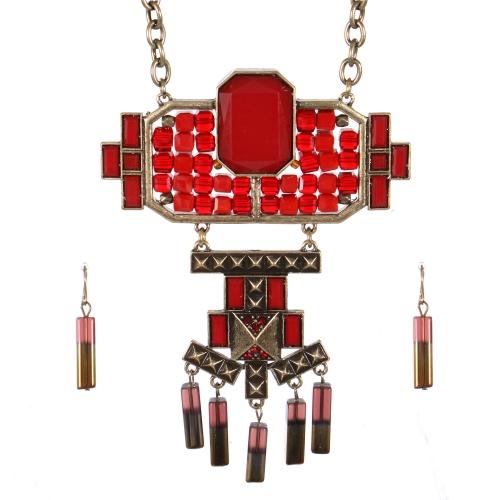 Wholesale Stone charm long necklace set GBRD