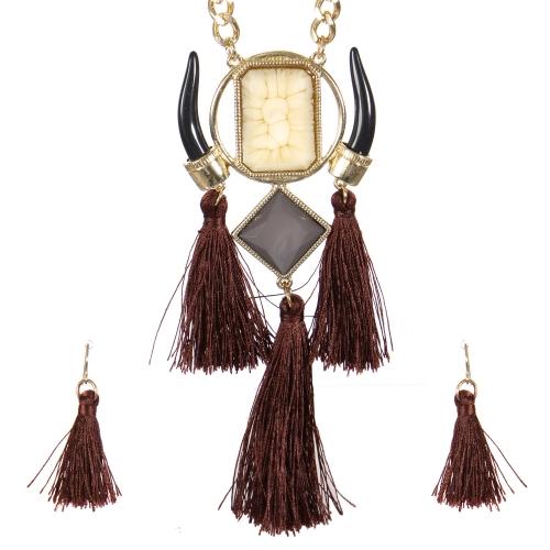 Wholesale Horn and tassel necklace set GNT