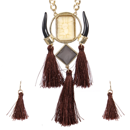 Wholesale Horn and tassel necklace set GNT
