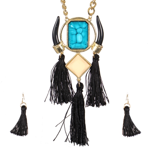 Wholesale Horn and tassel necklace set GTQ