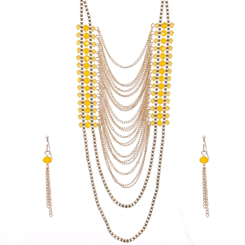Wholesale Layered chain long necklace set GYW