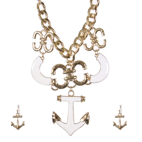 Wholesale Anchor pendant necklace set GWT