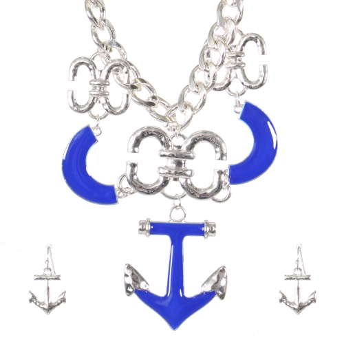 Wholesale Anchor pendant necklace set SBL