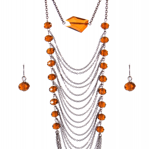 Wholesale Multi strand long necklace set CHBR