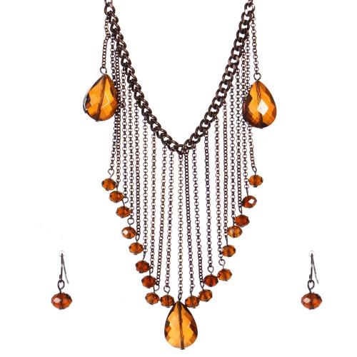 Wholesale Layered chain bib necklace set CHBR