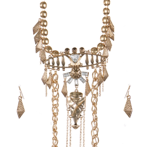 Wholesale Textured metal tribal necklace set AGCR