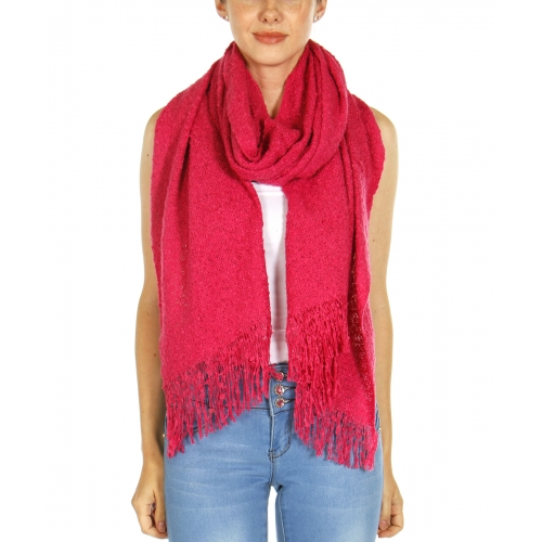 Wholesale U12B Fringe trim knit scarf