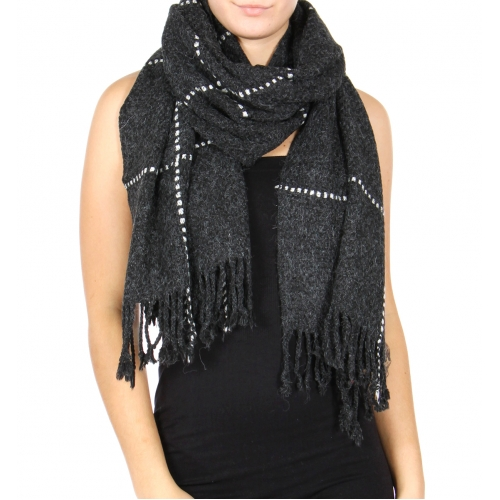 Wholesale U12E Textured check fringe scarf