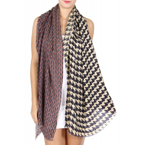 Wholesale D18E Wool blend houndstooth scarf