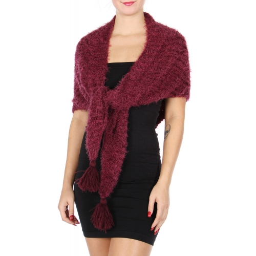 Wholesale S66A Knit triangle scarf with tassel