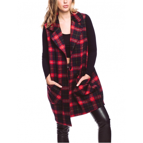 Wholesale P45A Plaid midi vest with pocket