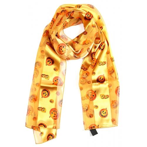 Wholesale WA00 Satin stripe scarf HALLOWEEN PUMPKIN