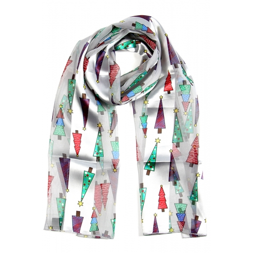 Wholesale WA00 Satin stripe scarf CHRISTMAS TREE
