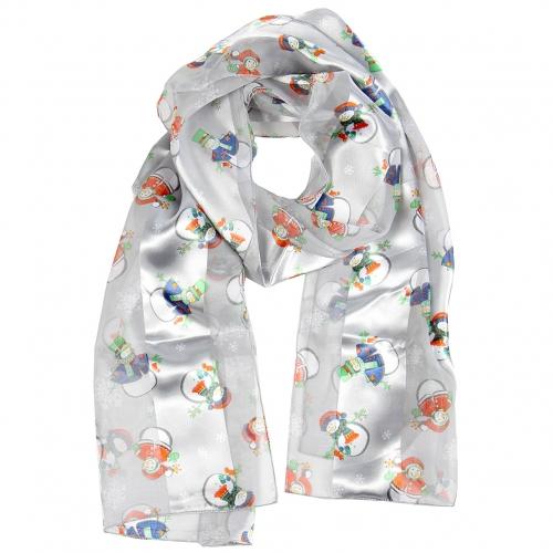 Wholesale WA00 Satin stripe scarf SNOWMAN