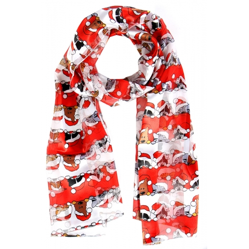 Wholesale WA00 Satin stripe scarf HOLIDAY CATS & DOGS