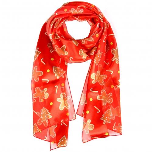 Wholesale WA00 Satin stripe scarf GINGERBREAD COOKIES
