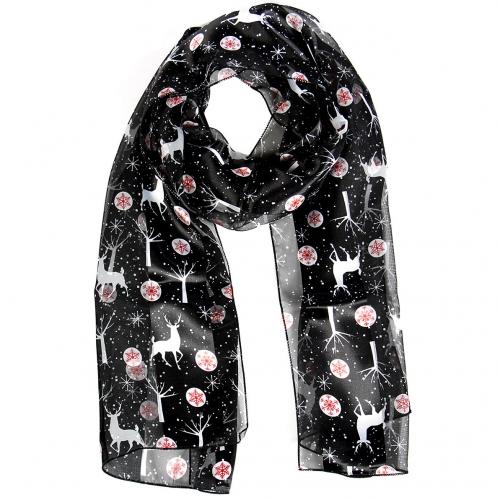 Wholesale WA00 Satin stripe scarf REINDEER