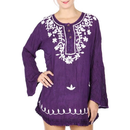 Wholesale S34B Embroidery embellished tunic