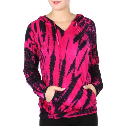 Wholesale P42D Tie dye print hoodie Fuchsia
