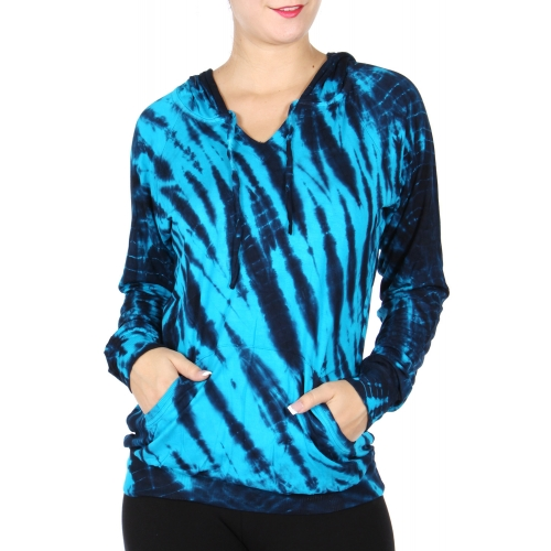 Wholesale P42D Tie dye print hoodie Blue