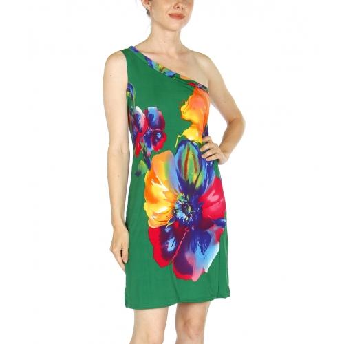 wholesale I00 One side shoulder strap short dress Green
