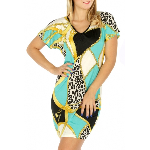 wholesale I03 Jewel short dress open sleeve Blue