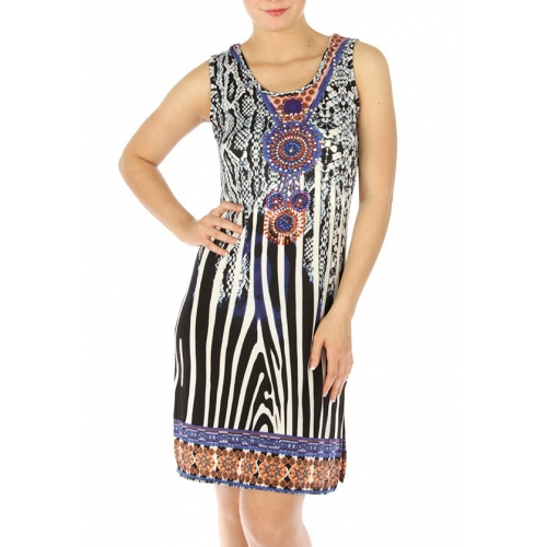 wholesale M31 Stud embellished animal print dress Blue